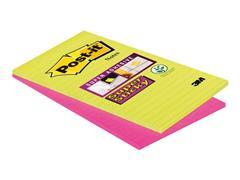 Post-it® Super Sticky Zelfklevend Notitieblok, Gelinieerd, 127 x 203 mm, Assorti (pak 2 blokken)