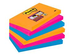 Post-it® Super Sticky Zelfklevend Notitieblok, 76 x 127 mm, Bangkok Kleuren (pak 6 blokken)