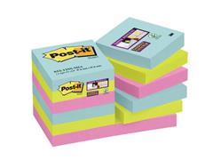 Post-it® Super Sticky Zelfklevend Notitieblok, 48 x 48 mm, Miami Kleuren (pak 12 stuks)