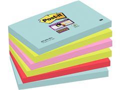Post-it® Super Sticky Zelfklevend Notitieblok, 76 x 127 mm, Miami Kleuren (pak 6 stuks)