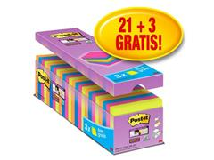 Post-it® Super Sticky Zelfklevend Notitieblok, 76 x 76 mm, Assorti (pak 24 blokken)