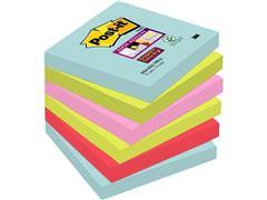 Post-it® Super Sticky Zelfklevend Notitieblok, 76 x 76 mm, Miami Kleuren (pak 6 stuks)