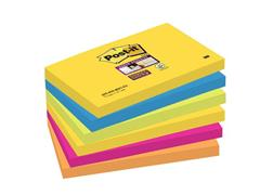 Post-it® Super Sticky Zelfklevend Notitieblok, 76 x 127 mm, Rio de Janeiro Kleuren (pak 6 blokken) (SC 9006055)