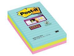 Post-it® Super Sticky Zelfklevend Notitieblok, Gelinieerd, 101 x 152 mm, Miami Kleuren (pak 3 stuks)
