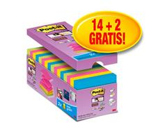 Post-it® Super Sticky Z-Notes Notitieblok, 76 x 76 mm, Neon Assorti (pak 16 blokken)
