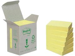 Post-it® Recycled Zelfklevend Notitieblok, 38 x 51 mm, Geel (pak 6 blokken) (SC 9002660)