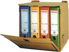 Pressel Archiefcontainer t.b.v. 4 Ordners, Karton, 330 x 310 x 340 mm, Bruin (pak 10 stuks)