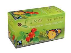 PURO Fairtrade Theezakjes, Rozenbottel en Hibiscus (doos 6 x 25 stuks)