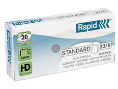 Rapid Standaard Nieten Nr. 23, Capaciteit 20 vel, 23/6 mm, Gegalvaniseerd staal (doos 10 x 1000 stuks)