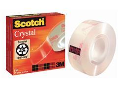 Scotch® Plakband Crystal Clear 600 19 mm x 66 m, asgat 76 mm (rol 66 meter)