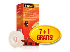 Scotch® Crystal Tape 600 doorzichtige, glanzende afwerking, 19 mm x 33 m (pak 8 rollen) (SC 9011327)