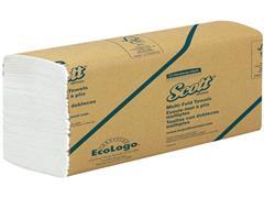 Scott® Meermaals gevouwen papieren handdoekjes, 1-laags 250 vel, wit (doos 16 x 250 stuks)