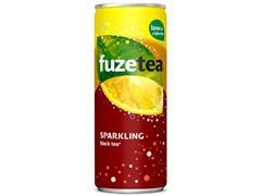 FUZE TEA Sparkling Black Tea, Frisdrank, Blik (pak 24 x 250 milliliter)