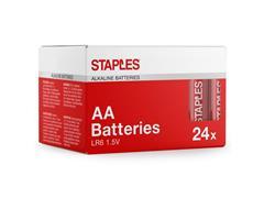 Staples AA-alkalinebatterijen 1,50 V, 2550 mAh (doos 24 stuks)