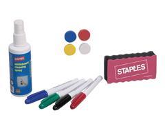 Staples Magnetische droog afwisbare whiteboardset met basisaccessoires