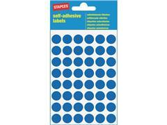 Staples Markeer etiketten Diameter 12 mm, blauw (pak 240 stuks)