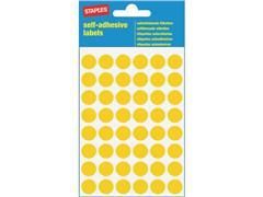 Staples Markeer etiketten Diameter 12 mm, geel (pak 240 stuks)