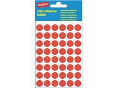 Staples Markeer etiketten Diameter 12 mm, rood (pak 240 stuks)