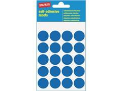 Staples Markeer etiketten Diameter 19 mm, blauw (pak 100 stuks)