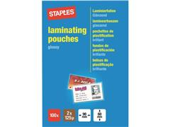 Staples Lamineerhoes, 60 x 90 mm, 2 x 125 micron, Glanzend (pak 100 stuks)