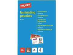 Staples Lamineerhoes Keycard-formaat, 65 x 95 mm, 2 x 125 micron, Glanzend (pak 100 stuks)