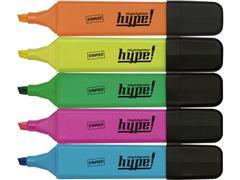 Staples Hype Markeerstift, Beitelvormige Punt, 1 - 5 mm, Assorti (pak 5 stuks)