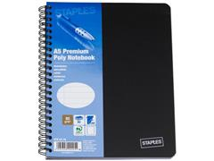 Staples Premium Spiraalblok 4-gaats, Gelinieerd, A5, Zwart