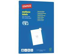 Staples Permanent etiket, 57 x 99 mm, rechte hoek, 1000 stuks, wit<BR> (pak 1000 stuks)