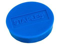 Staples Verpakking met 10 ronde, blauwe magneten van 10 mm met een magnetische kracht 160 gram/m² (doos 10 stuks)