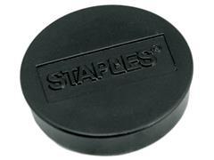 Staples Verpakking met 10 ronde, zwarte magneten van 30 mm met een magnetische kracht 850 gram/m² (doos 10 stuks)