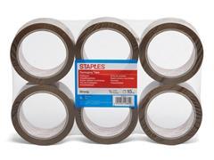 Staples Verpakkingstape PP - acryllijm 50 mm x 66 m, bruin (pak 6 x 66 meter)