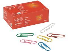 Staples Gekleurde paperclips 25 mm, metaal geplastificeerd (pak 100 stuks)