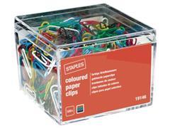 Staples Gekleurde paperclips 26 mm, metaal geplastificeerd (pak 500 stuks)