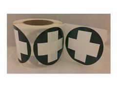 Sticker kruis rond, groen/wit