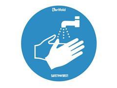 tarifold Deursticker Handen wassen verplicht, Vinyl, Ø 250 mm, Blauw en wit (pak 2 stuks)