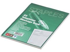 Staples Recycled telefoon notitieblok A5, Nederlands (pak 2 x 50 vel)