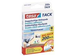 tesa® TACK Dubbelzijdige Kleefpads Value Pack, Transparant (pak 200 stuks)