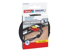 tesa® On & Off Cable Manager Universal Kabelbinder, Klittenband, 10 mm x 5 m, Zwart
