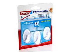 tesa® Powerstrips Small Zelfklevende Haak, Ovaal, Verwijderbaar, Wit (pak 3 stuks)