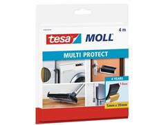 tesa® tesamoll Multi Protect Tochtstrip, Zelfklevend, 20 mm x 5 mm x 4 m, Antraciet (rol 4 meter)