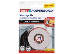tesa® Powerbond Ultra Strong Dubbelzijdig Montagetape, 19 mm x 1.5 m, Wit (blister 1 stuk)