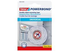 tesa® Powerbond® Universal dubbelzijdige bevestigingstape wit 19 mm x 1,5 m 58565 (rol 1.5 meter)