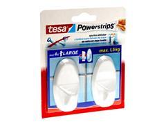 tesa® Powerstrips Large Ovaal Zelfklevende Haak, Verwijderbaar, Wit (pak 2 stuks)