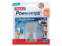 tesa® Powerstrips Waterproof Zelfklevende Haak, Verwijderbaar, 2 kg, Metaal