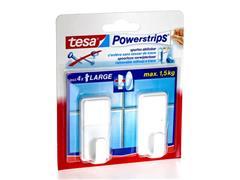tesa® Powerstrips Large Classic Zelfklevende Haak, Verwijderbaar, Wit (pak 2 stuks)