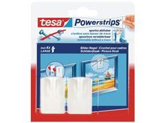 tesa® Powerstrips Zelfklevende Schilderijhaak, Verwijderbaar, 1 kg, Wit (pak 2 stuks)