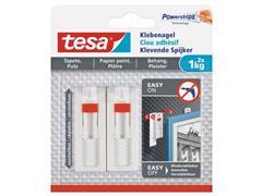 tesa® Verstelbare Klevende Spijker Voor Behang en Pleisterwerk, 1 kg, Wit (pak 2 stuks)