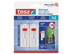 tesa® Powerstrips® kleefspijker voor tegels en metaal, 3 kg, wit (pak 2 stuks)