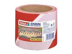 tesa® Signal Afzetlint, 80 mm x 100 m, polypropyleen, Rood en wit (pak 4 x 100 meter)