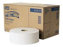 Tork Advanced toiletpapier jumbo 2 laags, wit, 1800 vel, afmeting l 20 x 9,7 cm (pak 6 rollen)